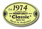 Distressed Aged Established 1974 Aged To Perfection Oval Design For Classic Car External Vinyl Car Sticker 120x80mm